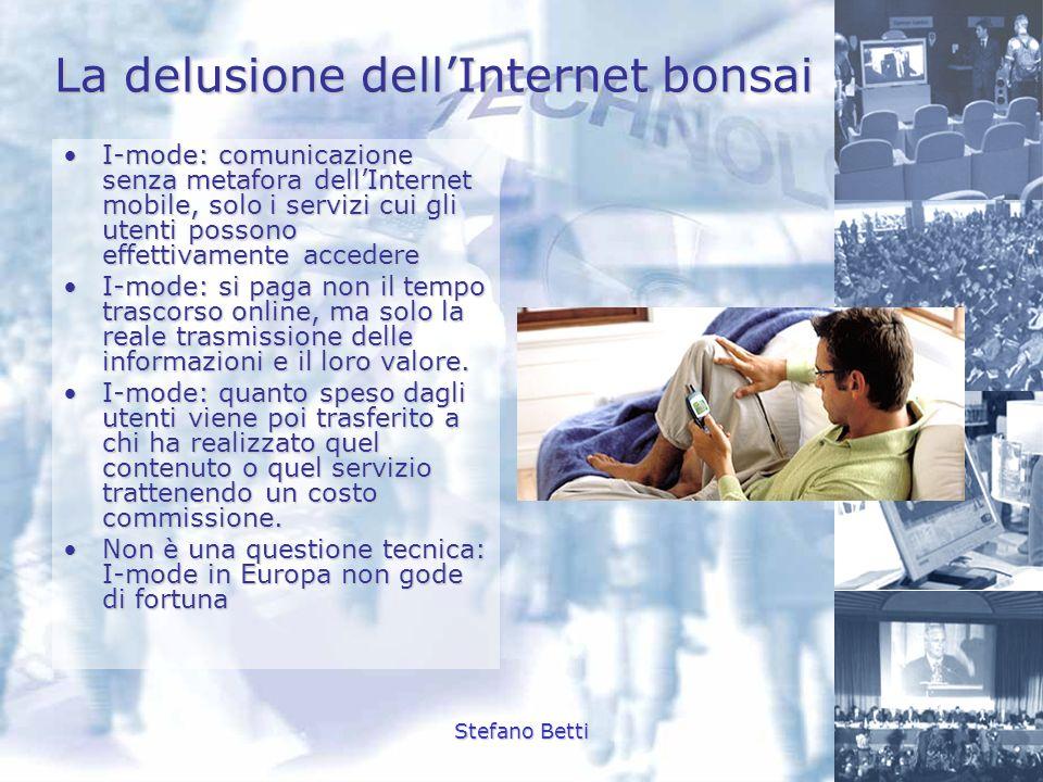 Stefano Betti La delusione dellInternet bonsai Nel 2001: su 43 milioni di utenti italiani non più dell 1% usa la funzione di navigazioneNel 2001: su 43 milioni di utenti italiani non più dell 1% usa la funzione di navigazione Vanno peggio i servizi disponibili sulla piattaforma wapVanno peggio i servizi disponibili sulla piattaforma wap