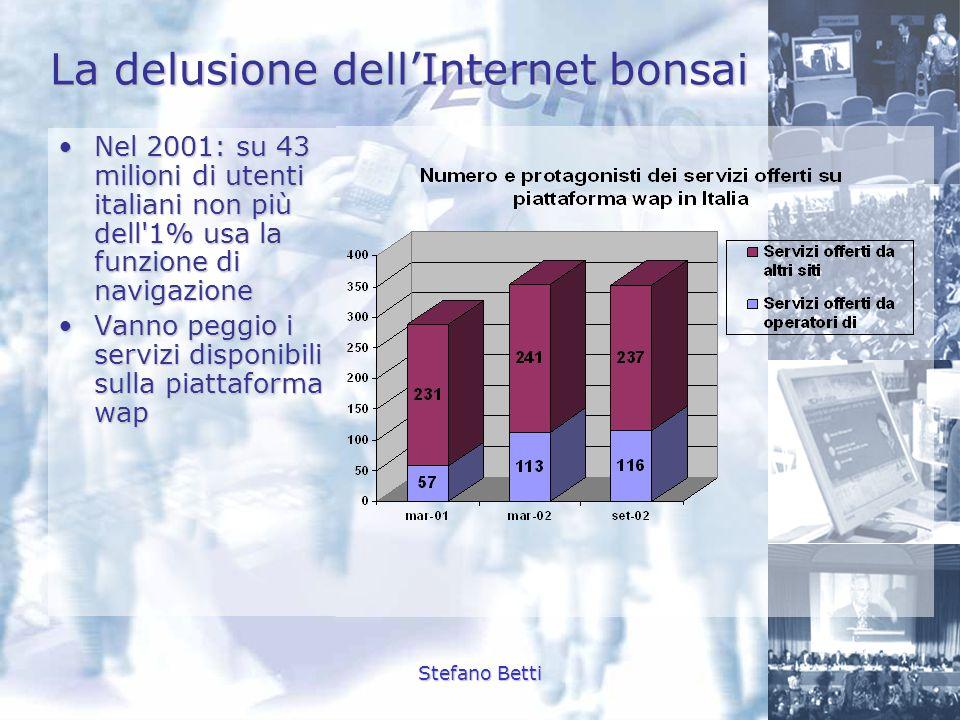 Stefano Betti La delusione dellInternet bonsai Nel 2001: su 43 milioni di utenti italiani non più dell'1% usa la funzione di navigazioneNel 2001: su 4