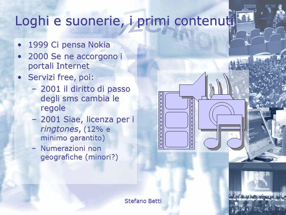 Stefano Betti Loghi e suonerie, i primi contenuti 1999 Ci pensa Nokia1999 Ci pensa Nokia 2000 Se ne accorgono i portali Internet2000 Se ne accorgono i