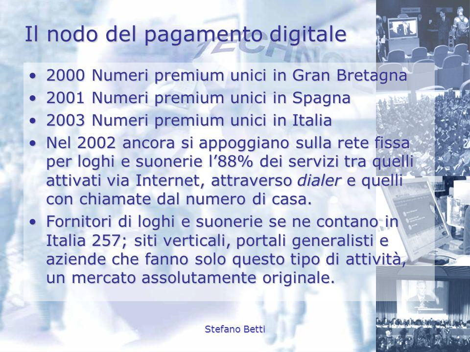 Stefano Betti Il nodo del pagamento digitale 2000 Numeri premium unici in Gran Bretagna2000 Numeri premium unici in Gran Bretagna 2001 Numeri premium