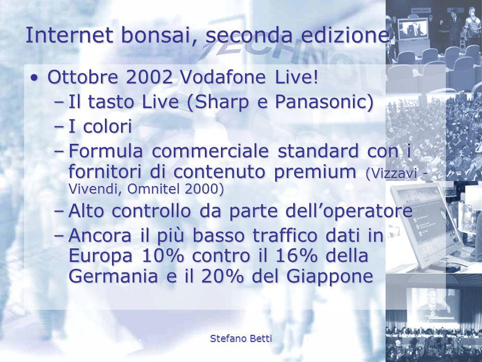 Stefano Betti Internet bonsai, seconda edizione Ottobre 2002 Vodafone Live!Ottobre 2002 Vodafone Live! –Il tasto Live (Sharp e Panasonic) –I colori –F
