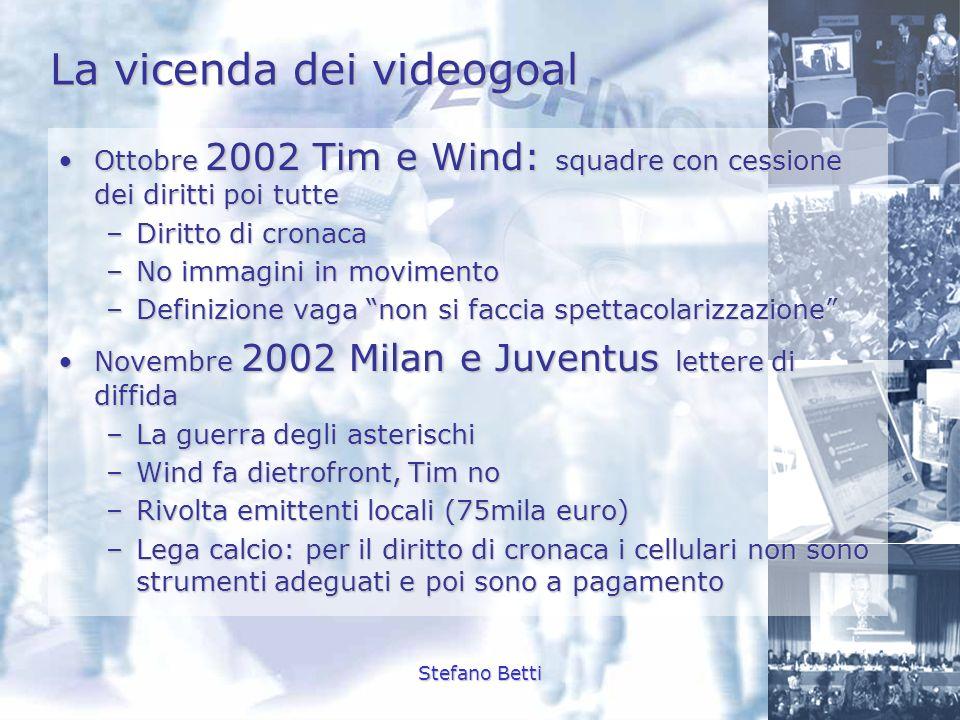 Stefano Betti La vicenda dei videogoal Ottobre 2002 Tim e Wind: squadre con cessione dei diritti poi tutteOttobre 2002 Tim e Wind: squadre con cession