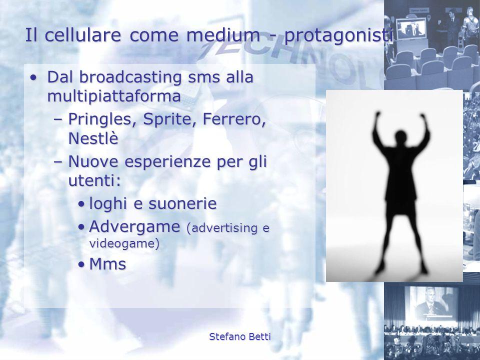 Stefano Betti Il cellulare come medium - protagonisti Dal broadcasting sms alla multipiattaformaDal broadcasting sms alla multipiattaforma –Pringles,