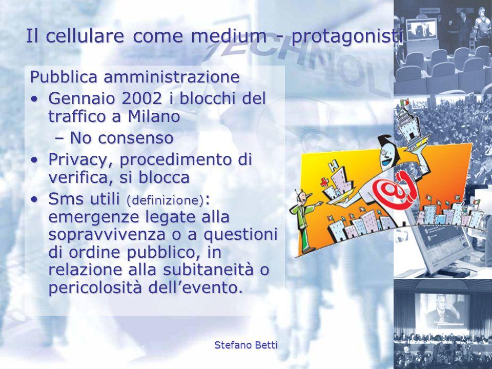 Stefano Betti Il cellulare come medium - protagonisti Pubblica amministrazione Gennaio 2002 i blocchi del traffico a MilanoGennaio 2002 i blocchi del