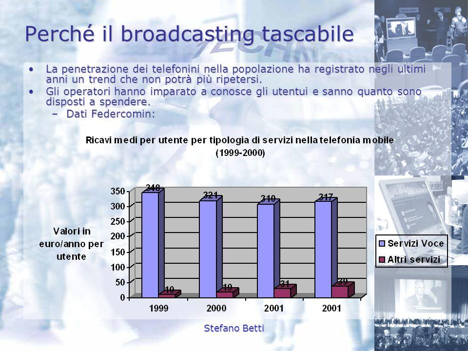 Stefano Betti Perché il broadcasting tascabile La penetrazione dei telefonini nella popolazione ha registrato negli ultimi anni un trend che non potrà