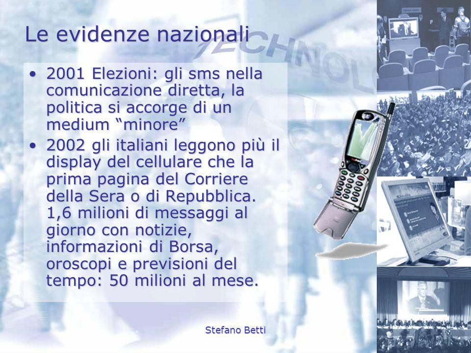 Stefano Betti Le evidenze nazionali 2001 Elezioni: gli sms nella comunicazione diretta, la politica si accorge di un medium minore2001 Elezioni: gli s