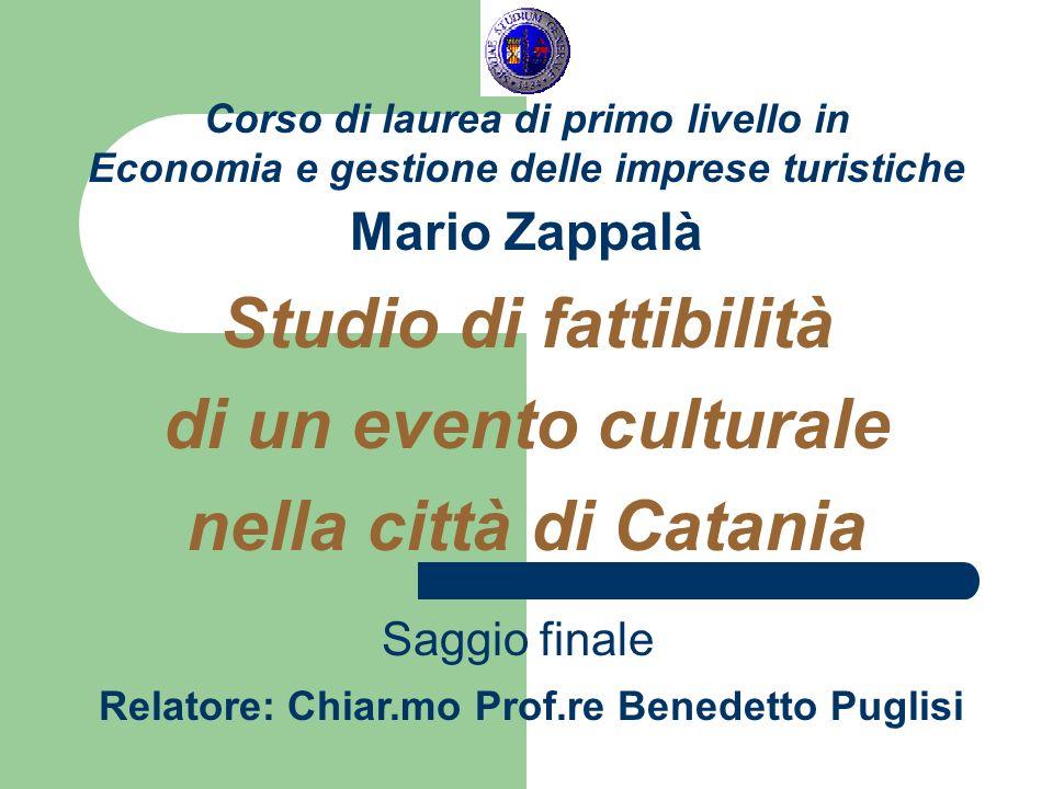 Corso di laurea di primo livello in Economia e gestione delle imprese turistiche Mario Zappalà Studio di fattibilità di un evento culturale nella citt
