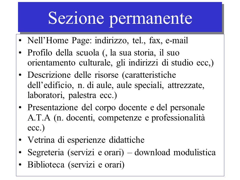 Sezione permanente NellHome Page: indirizzo, tel., fax, e-mail Profilo della scuola (, la sua storia, il suo orientamento culturale, gli indirizzi di