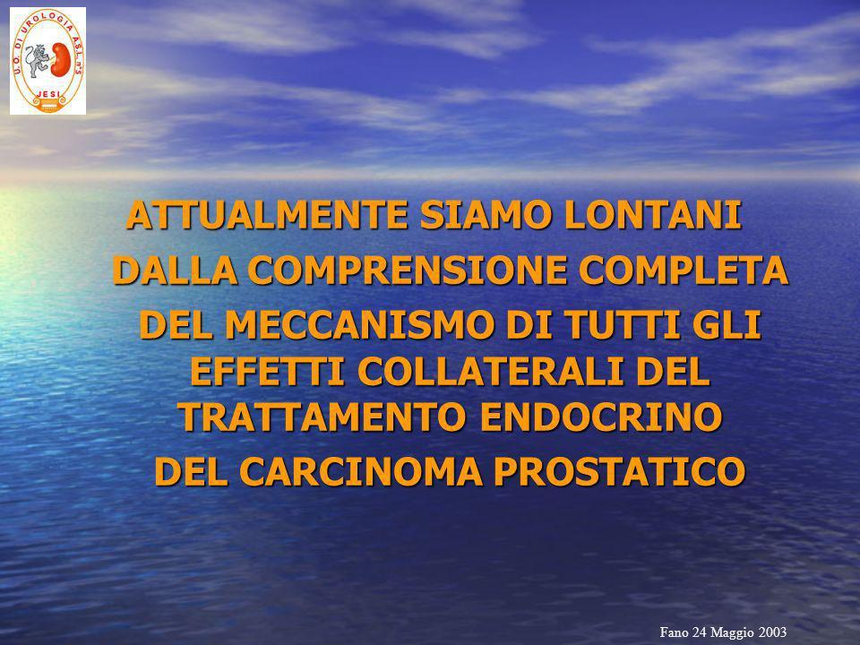 Fano 24 Maggio 2003 ATTUALMENTE SIAMO LONTANI DALLA COMPRENSIONE COMPLETA DEL MECCANISMO DI TUTTI GLI EFFETTI COLLATERALI DEL TRATTAMENTO ENDOCRINO DE