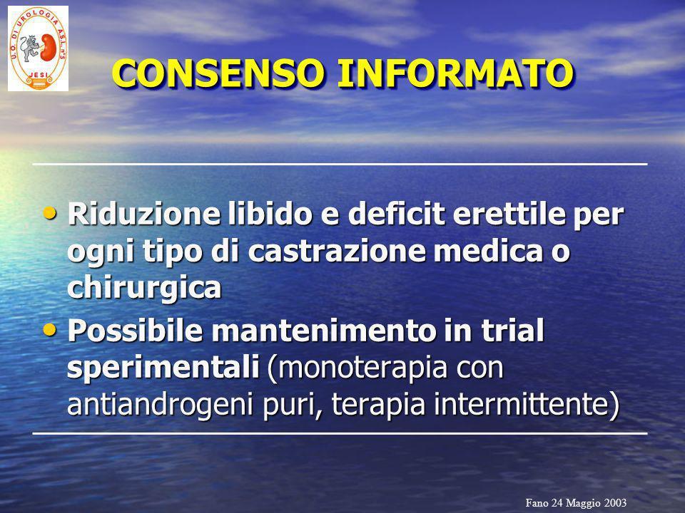 Fano 24 Maggio 2003 CONSENSO INFORMATO Riduzione libido e deficit erettile per ogni tipo di castrazione medica o chirurgica Riduzione libido e deficit