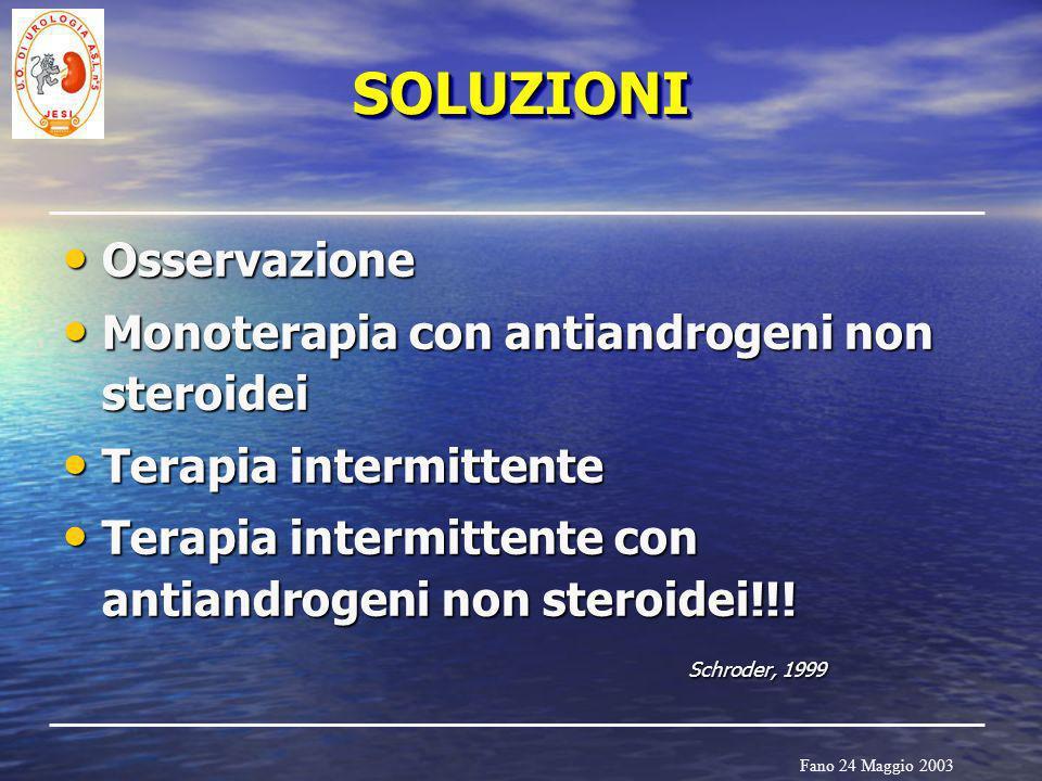 Fano 24 Maggio 2003 SOLUZIONISOLUZIONI Osservazione Osservazione Monoterapia con antiandrogeni non steroidei Monoterapia con antiandrogeni non steroid