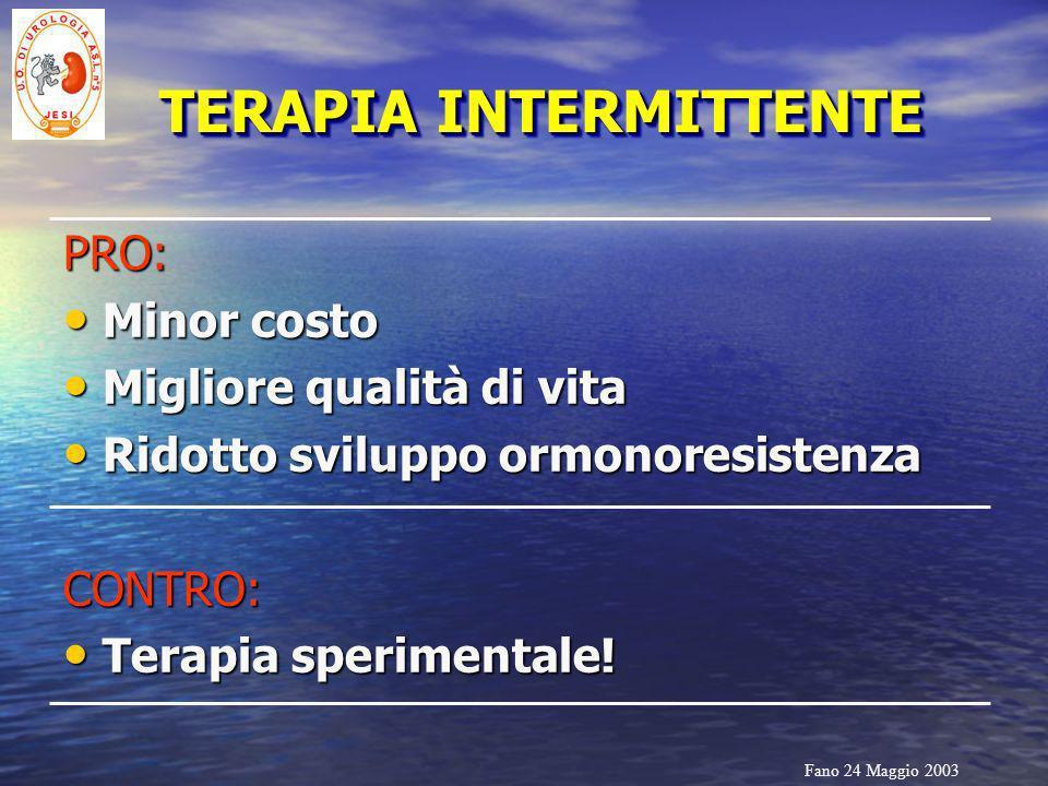 Fano 24 Maggio 2003 TERAPIA INTERMITTENTE PRO: Minor costo Minor costo Migliore qualità di vita Migliore qualità di vita Ridotto sviluppo ormonoresist