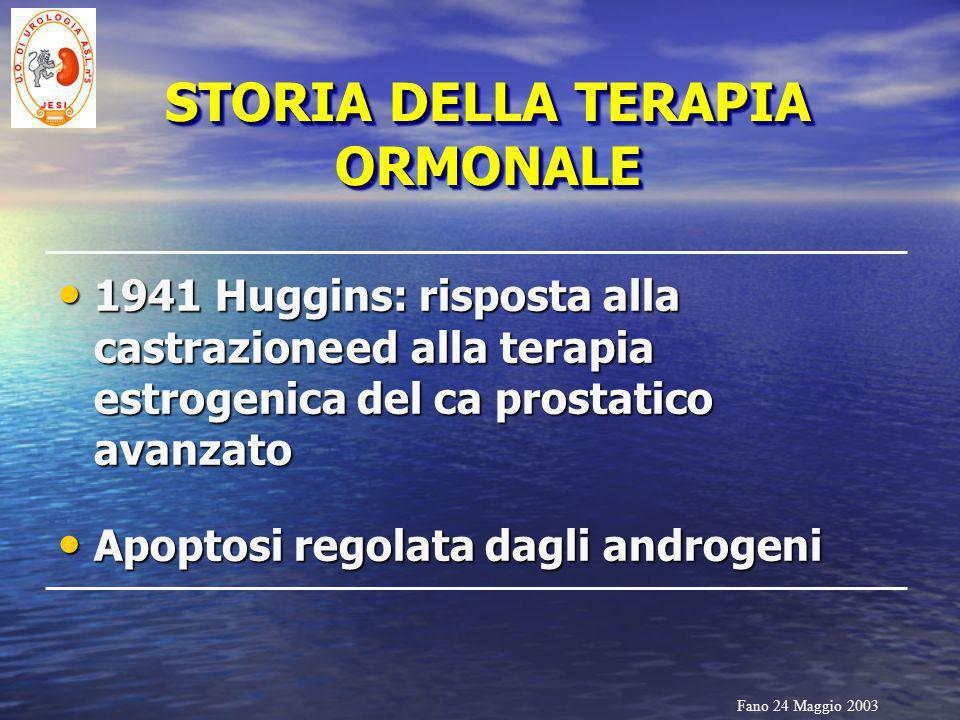 Fano 24 Maggio 2003 STORIA DELLA TERAPIA ORMONALE 1941 Huggins: risposta alla castrazioneed alla terapia estrogenica del ca prostatico avanzato 1941 H