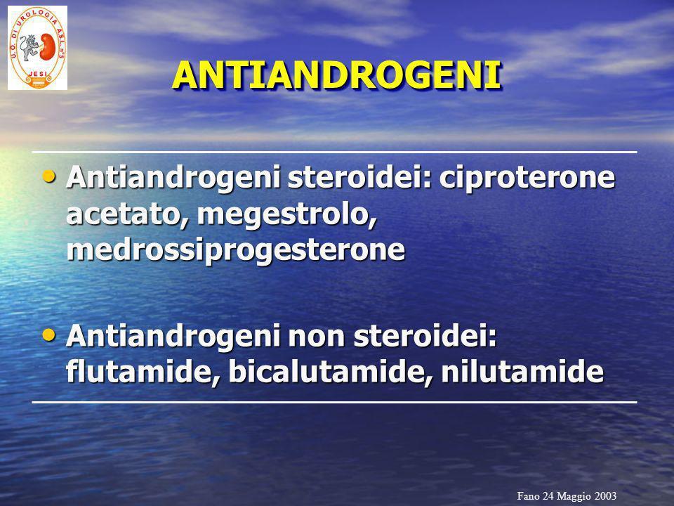 Fano 24 Maggio 2003 ANTIANDROGENIANTIANDROGENI Antiandrogeni steroidei: ciproterone acetato, megestrolo, medrossiprogesterone Antiandrogeni steroidei: