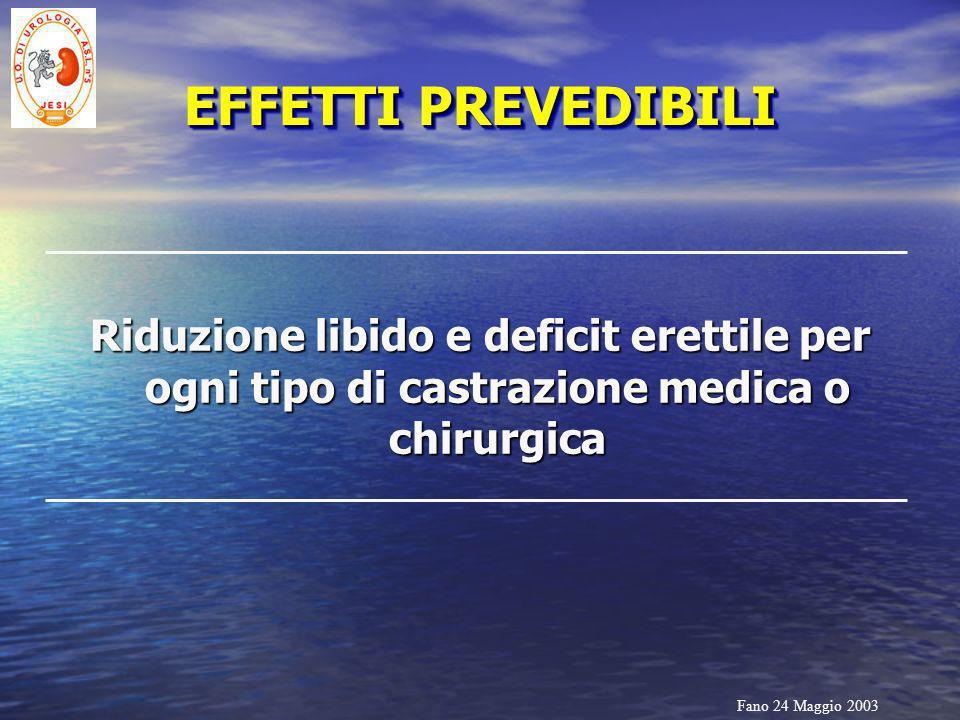 Fano 24 Maggio 2003 EFFETTI PREVEDIBILI Riduzione libido e deficit erettile per ogni tipo di castrazione medica o chirurgica