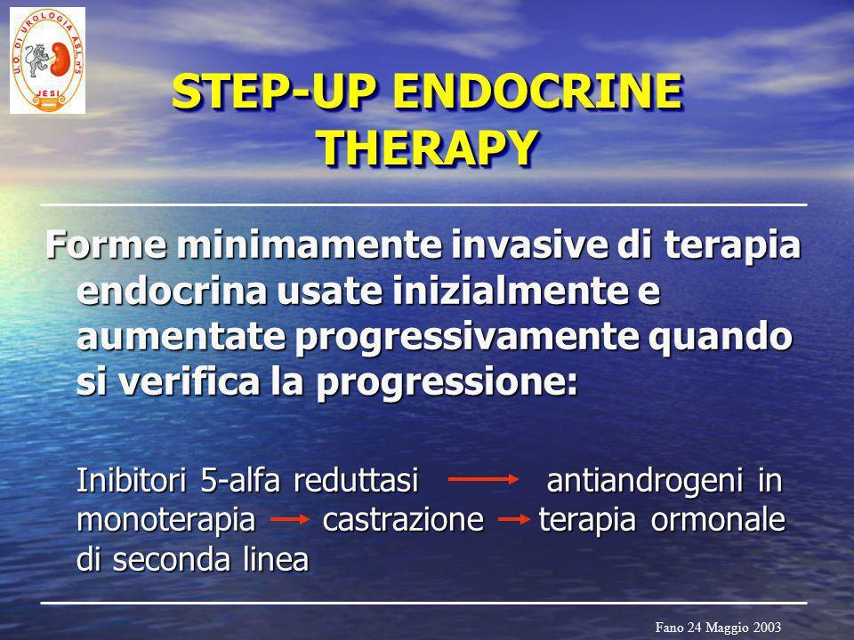 Fano 24 Maggio 2003 STEP-UP ENDOCRINE THERAPY Forme minimamente invasive di terapia endocrina usate inizialmente e aumentate progressivamente quando s