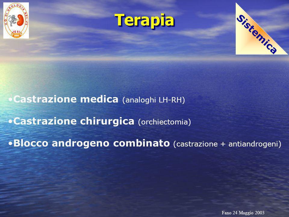 Fano 24 Maggio 2003 TerapiaTerapia Sistemica Castrazione medica (analoghi LH-RH) Castrazione chirurgica (orchiectomia) Blocco androgeno combinato (cas