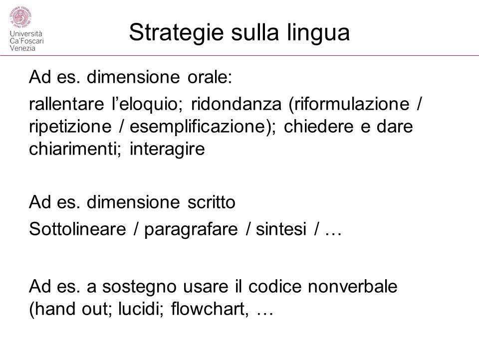 Strategie sulla lingua Ad es. dimensione orale: rallentare leloquio; ridondanza (riformulazione / ripetizione / esemplificazione); chiedere e dare chi