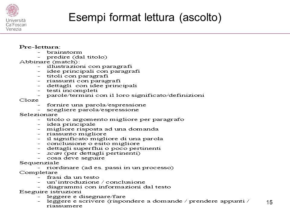 Esempi format lettura (ascolto) 15