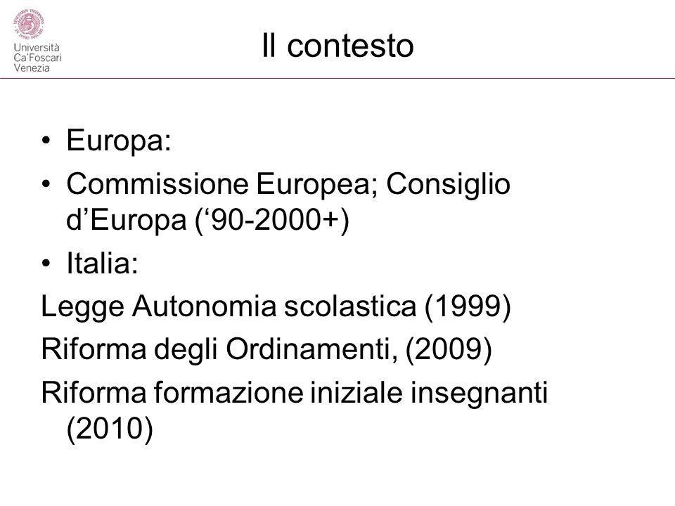 Il contesto Europa: Commissione Europea; Consiglio dEuropa (90-2000+) Italia: Legge Autonomia scolastica (1999) Riforma degli Ordinamenti, (2009) Rifo