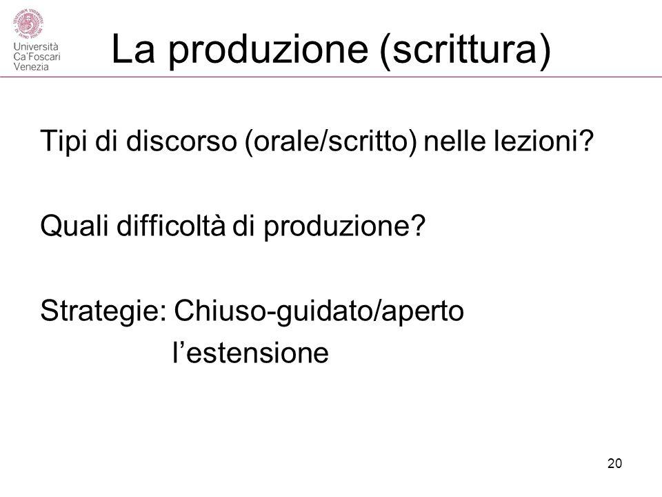 La produzione (scrittura) Tipi di discorso (orale/scritto) nelle lezioni? Quali difficoltà di produzione? Strategie: Chiuso-guidato/aperto lestensione