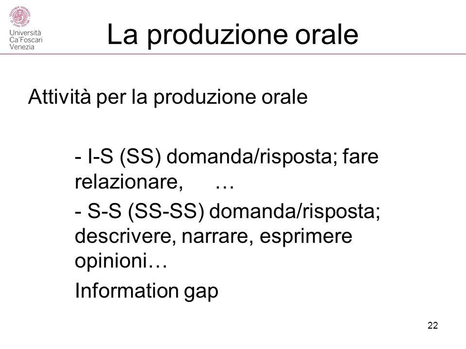 La produzione orale Attività per la produzione orale - I-S (SS) domanda/risposta; fare relazionare, … - S-S (SS-SS) domanda/risposta; descrivere, narr