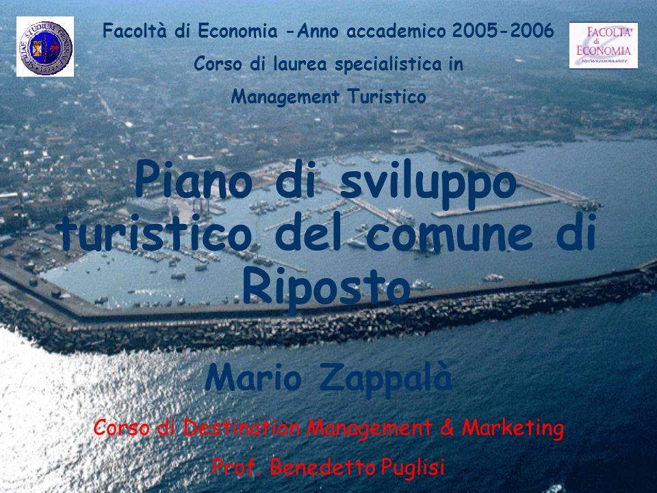 Piano di sviluppo turistico del comune di Riposto Mario Zappalà Facoltà di Economia -Anno accademico 2005-2006 Corso di laurea specialistica in Manage