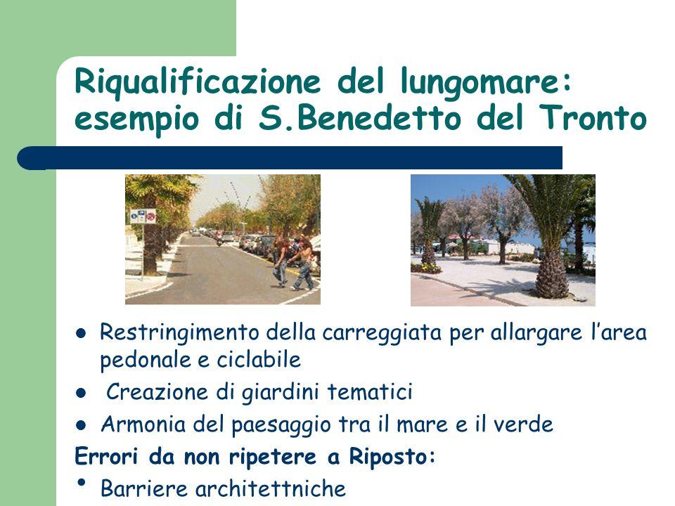 Riqualificazione del lungomare: esempio di S.Benedetto del Tronto Restringimento della carreggiata per allargare larea pedonale e ciclabile Creazione