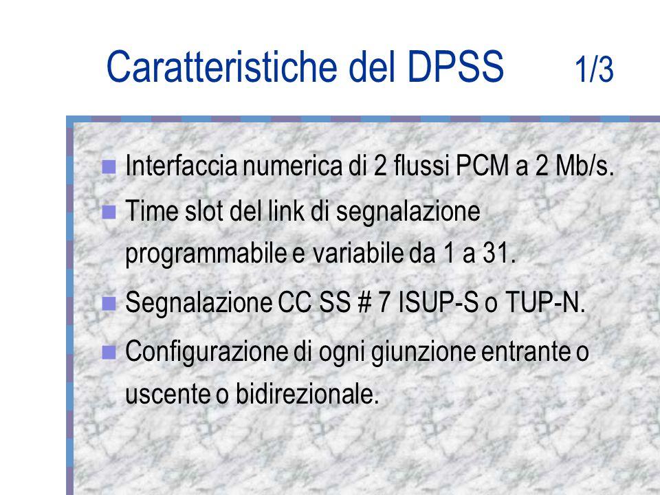 Caratteristiche del DPSS 1/3 Interfaccia numerica di 2 flussi PCM a 2 Mb/s.