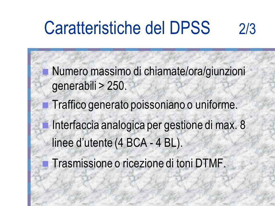 Caratteristiche del DPSS 2/3 Numero massimo di chiamate/ora/giunzioni generabili > 250.
