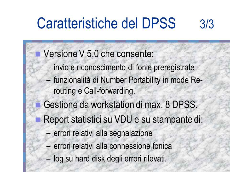 Caratteristiche del DPSS 3/3 Versione V 5.0 che consente: –invio e riconoscimento di fonie preregistrate –funzionalità di Number Portability in mode Re- routing e Call-forwarding.