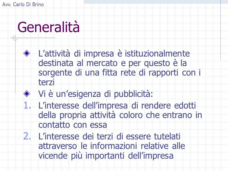 Avv. Carlo Di Brino Generalità Lattività di impresa è istituzionalmente destinata al mercato e per questo è la sorgente di una fitta rete di rapporti
