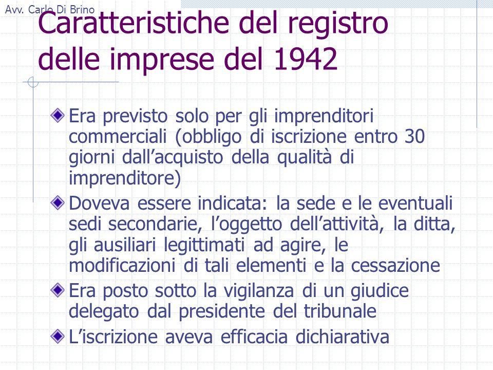 Avv. Carlo Di Brino Caratteristiche del registro delle imprese del 1942 Era previsto solo per gli imprenditori commerciali (obbligo di iscrizione entr