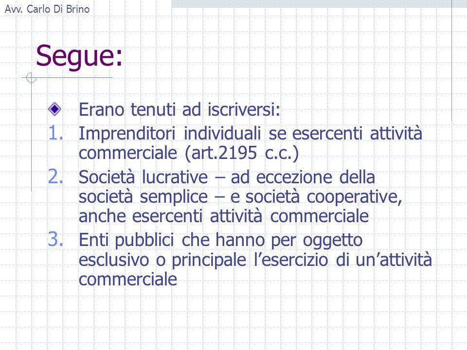 Avv. Carlo Di Brino Segue: Erano tenuti ad iscriversi: 1.