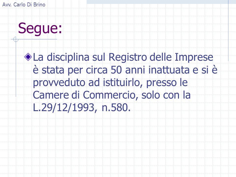 Avv. Carlo Di Brino Segue: La disciplina sul Registro delle Imprese è stata per circa 50 anni inattuata e si è provveduto ad istituirlo, presso le Cam