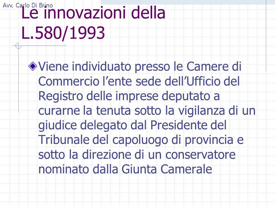 Avv. Carlo Di Brino Le innovazioni della L.580/1993 Viene individuato presso le Camere di Commercio lente sede dellUfficio del Registro delle imprese