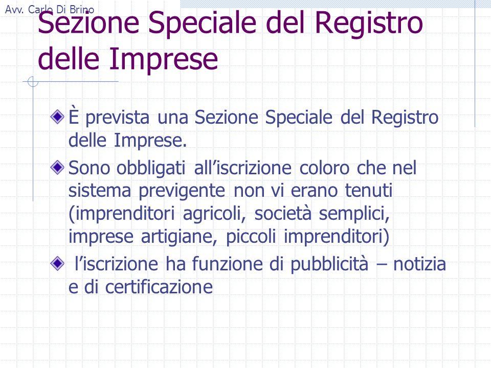 Avv. Carlo Di Brino Sezione Speciale del Registro delle Imprese È prevista una Sezione Speciale del Registro delle Imprese. Sono obbligati alliscrizio