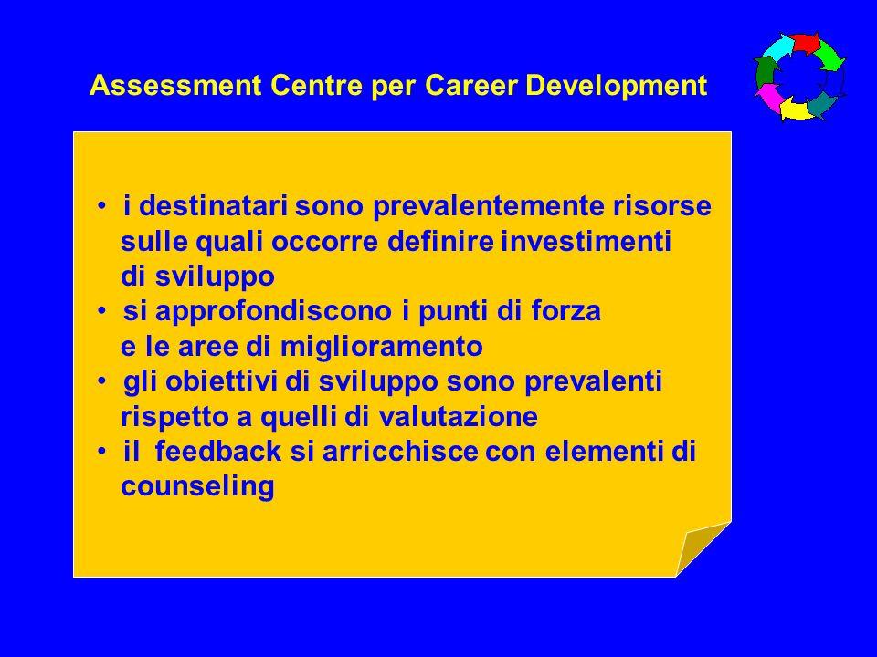 Assessment Centre per Career Development i destinatari sono prevalentemente risorse sulle quali occorre definire investimenti di sviluppo si approfond