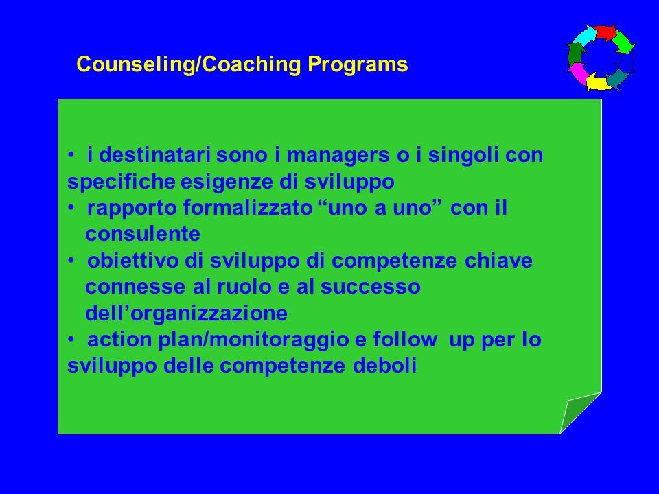 Counseling/Coaching Programs i destinatari sono i managers o i singoli con specifiche esigenze di sviluppo rapporto formalizzato uno a uno con il cons