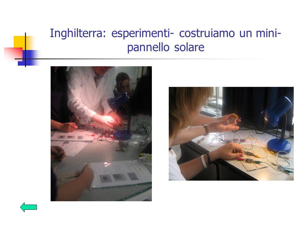 Inghilterra: esperimenti- costruiamo un mini- pannello solare