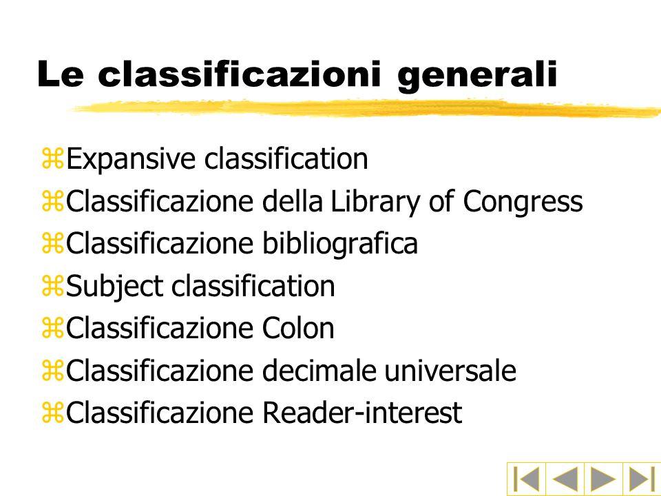 Le classificazioni generali zExpansive classification zClassificazione della Library of Congress zClassificazione bibliografica zSubject classification zClassificazione Colon zClassificazione decimale universale zClassificazione Reader-interest