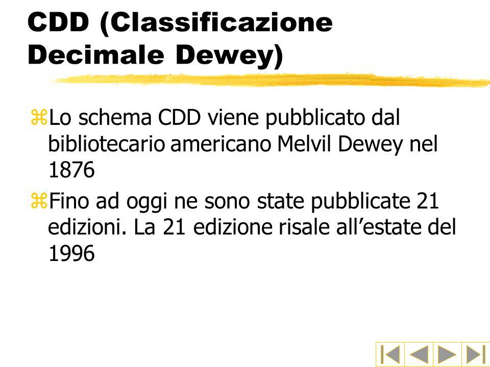 CDD (Classificazione Decimale Dewey) zLo schema CDD viene pubblicato dal bibliotecario americano Melvil Dewey nel 1876 zFino ad oggi ne sono state pub