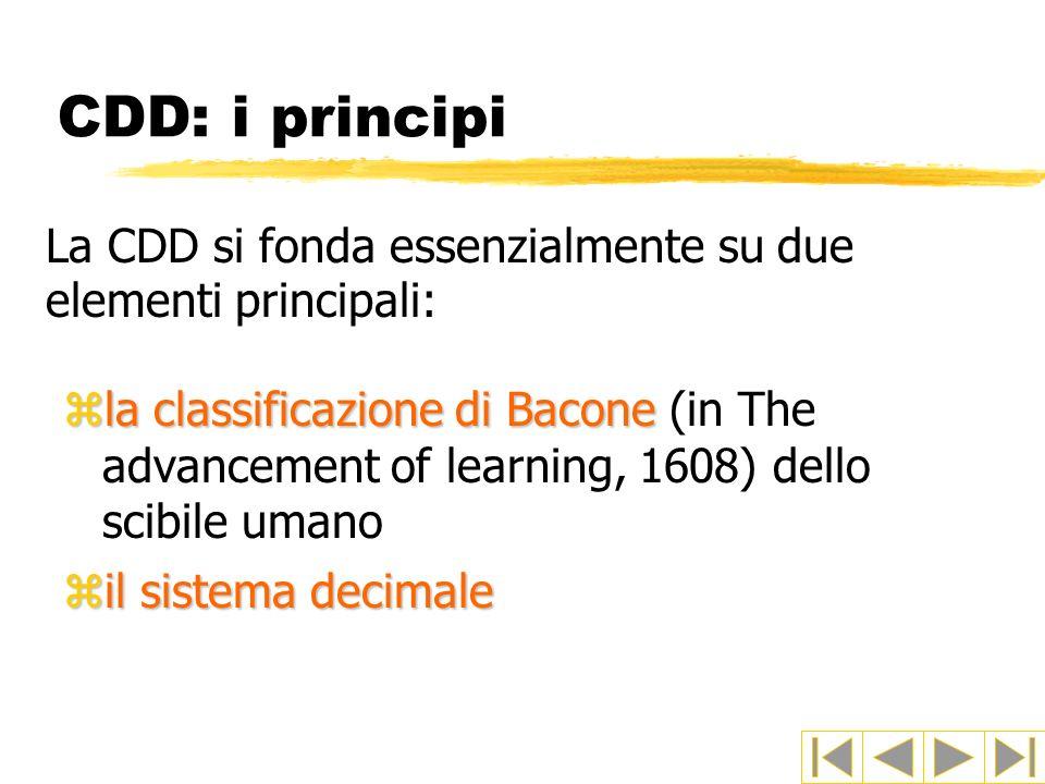CDD: i principi La CDD si fonda essenzialmente su due elementi principali: zla classificazione di Bacone zla classificazione di Bacone (in The advancement of learning, 1608) dello scibile umano zil sistema decimale