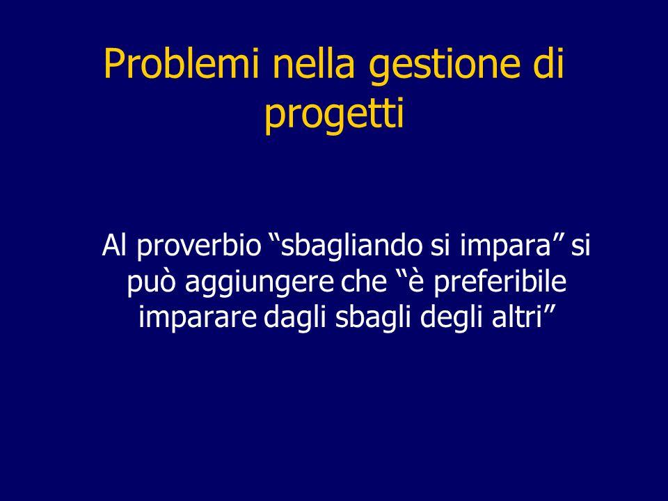 Problemi nella gestione di progetti Al proverbio sbagliando si impara si può aggiungere che è preferibile imparare dagli sbagli degli altri