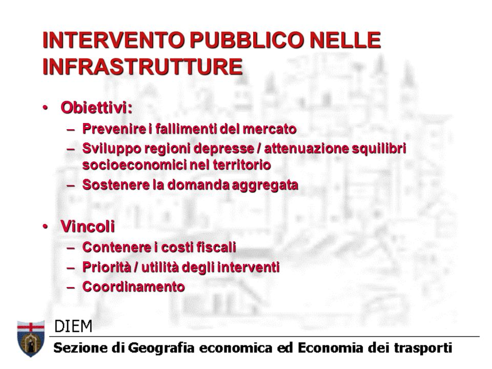 INTERVENTO PUBBLICO NELLE INFRASTRUTTURE Obiettivi:Obiettivi: –Prevenire i fallimenti del mercato –Sviluppo regioni depresse / attenuazione squilibri