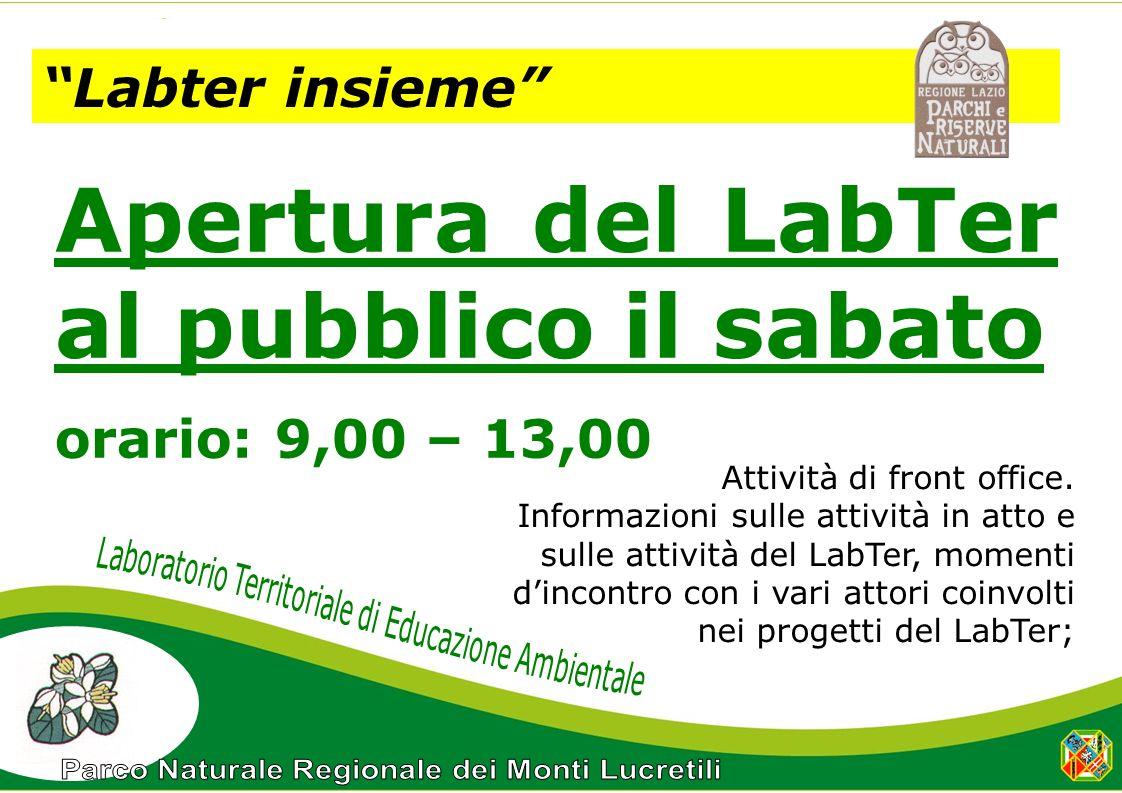 Labter insieme Apertura del LabTer al pubblico il sabato orario: 9,00 – 13,00 Attività di front office.