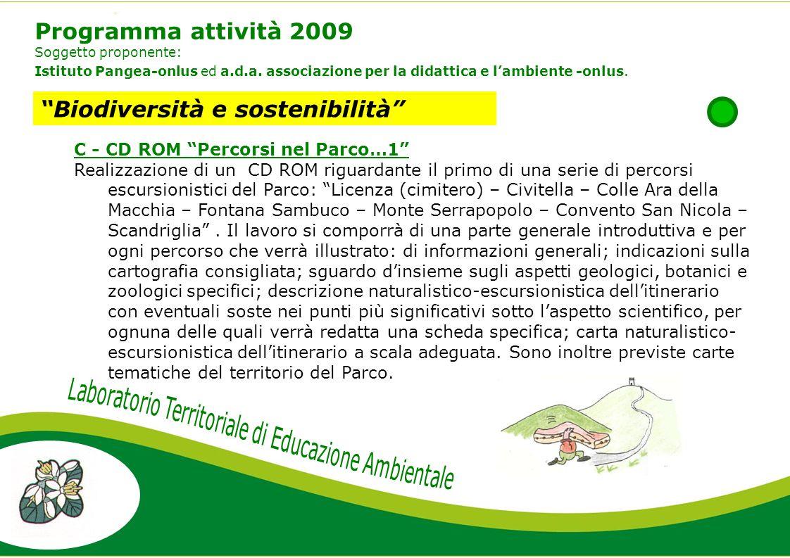 Programma attività 2009 Soggetto proponente: Istituto Pangea-onlus ed a.d.a.