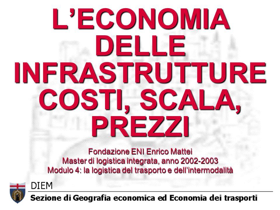 LECONOMIA DELLE INFRASTRUTTURE COSTI, SCALA, PREZZI Fondazione ENI Enrico Mattei Master di logistica integrata, anno 2002-2003 Modulo 4: la logistica