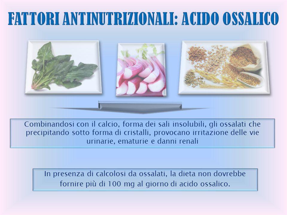 In presenza di calcolosi da ossalati, la dieta non dovrebbe fornire più di 100 mg al giorno di acido ossalico.