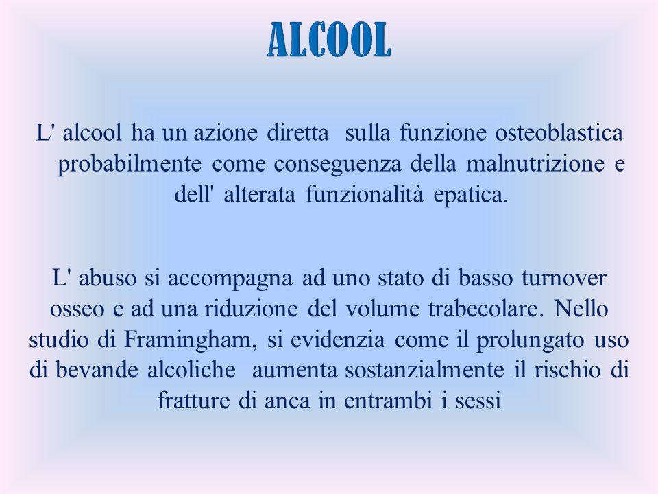 L' alcool ha un azione diretta sulla funzione osteoblastica probabilmente come conseguenza della malnutrizione e dell' alterata funzionalità epatica.